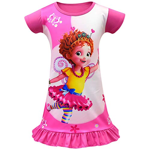 Wenge Fancy Nancy Comfy Loose Fit Pajamas Girls Printed Princess Dress Nightgown for Toddler 4-9Years (110/4-5Y, Rose)