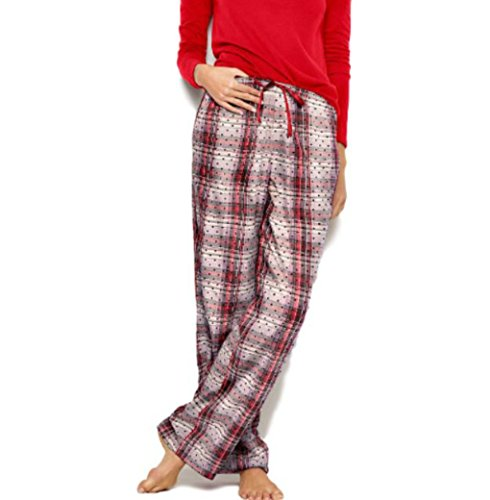 (Victoria's Secret The Flannel Pant, Red Black Flocked Dot - Size)