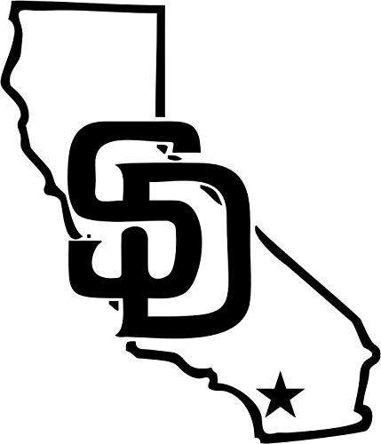BEARGRAPHIX San Diego California State Map Decal Sticker Car Motorcycle Truck Bumper Window Laptop Wall Décor Size- 12 Inch Tall Gloss White Color