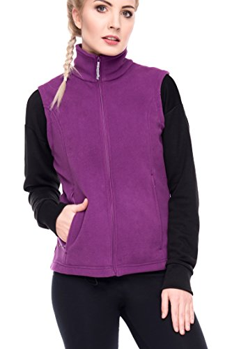 Women's Spring Fall Full Zip Fleece Vest Plum M (Best Cold Weather Vest)