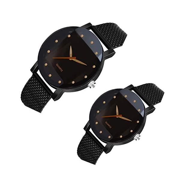 On Time Octus Analog Black Dial Mens and Womens Couple Watch - RADD 12 Dia