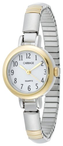 Carriage Women's C56291 Glod-Tone Round Case White Dial Small Two-Tone Stainless Steel Expansion Band Watch (Polished White Dial)