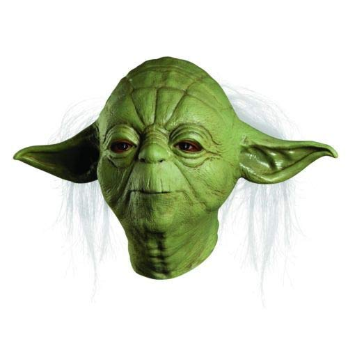 Party Mask - Party Mask Star Wars Jedti Yoda Deluxe Overhead Hallween Costume Latex Adult Movie Tv One Size - Black Little Women Light Mask Photo Craft Booth Latex Party Full Stick Clown Bulk