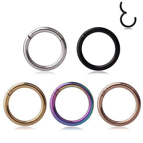 Ruifan 1PC Stainless Steel Hinged Seamless Segment Hoop Septum Clicker Ring Lip Helix Tragus Cartilage Earrings Nose Rings Pirecing 16g 14g