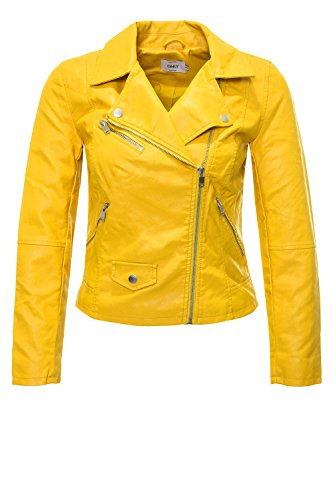 Donna Biker Leather Only 15144751 Faux Summer Giallo Giacchetto Crop 5Wxq6Z
