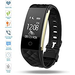 Fitness Tracker,DENISY Wireless Activity Trackers Smart Bracelet with Heart Rate Monitors for IOS Android Activity Watch Wristband.