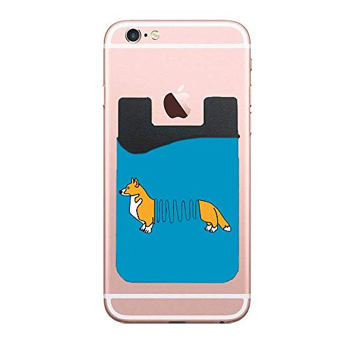 CardlyPhCardH Phone Card Holder Adhesive Stick-on Credit Card Wallet Phone Case Pouch Sleeve Pocket for Most of Smartphones(iPhone/Android/Samsung Galaxy) - (Corgi Dog Slinky 2pc)