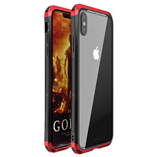 Aluminum Transformer - iPhone Xs Max Case, LWGON Luxury Aluminum Metal Frame + Transparent Tempered Glass PC Back Triple Cover case for iPhone Xs Max (3Glass red)