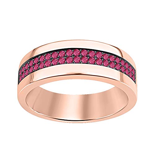(tusakha Two Row Men's Wedding Half Eternity Band Ring 0.75Ctw Round Cut Pink Ruby 14k Rose Gold Over .925 Sterling Silver)