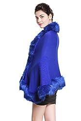 luxury Women's Bridal Faux Fur Shawl Wraps Cape Cloak Coat-S55 Black
