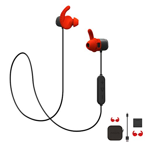 MOPS Wireless Sports Bluetooth 4.1 In Ear Earphones for Young People, Gym Headphones with Heart Rate Monitor Function 8GB Memory (Red) (Peoples Hearts)