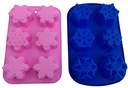 (2 Silicone Snowflake Soap Molds - Christmas Bath Bombs Soaps Cake - Baking Party Supplies & Holiday Decoration - Flexible 10 Different Shaped Design Snowflakes - DIY Bundle by Jolly Jon)