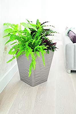 "UniFramPro 2-Pack Indoor/Outdoor Planter – Patio, Deck, Garden, Entryway, Home – ""Michigan Dunes"" Tall Modern Square Flower Pot with Insert"