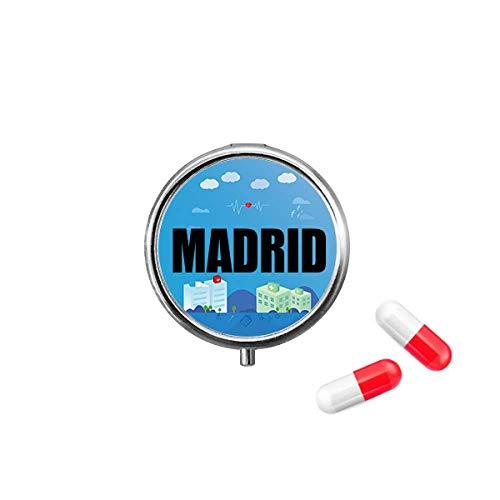 Madrid Spain City Pill Box Purse Medicine Storage Case Health Care