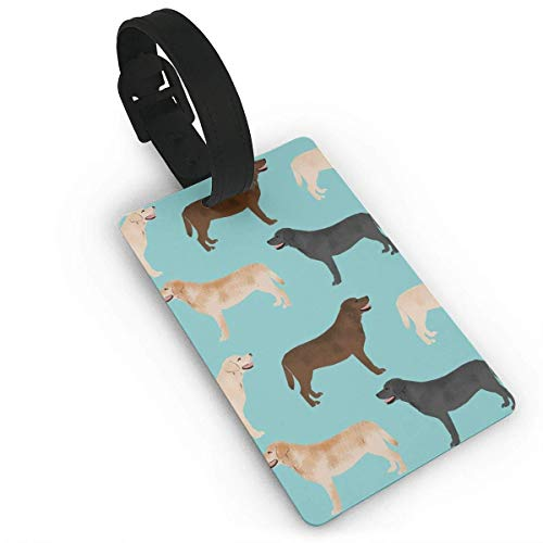 HappyToiletLidCoverX Luggage Tags Label Cruise Instrument Bag Case Tags (Cute Labradors Yellow Chocolate Black Lab Pet Dogs) PVC Size 2.2'' X - Chocolate Buckle Laminated