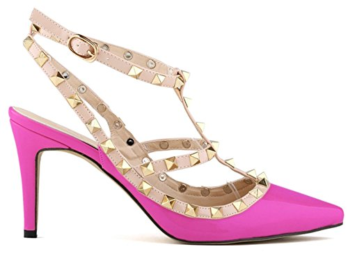 Fangsto Womens Fashion Leather High-Heeled Strappy Sandals US Size 9.5 Fuchsia (Studded Ball Dress Gown)
