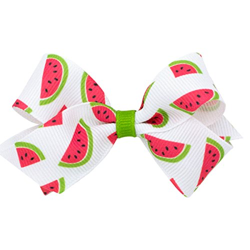Wee Ones Little Girls' Satin Print Bow on a WeeStay No Slip Clip, Watermelon, Mini ()