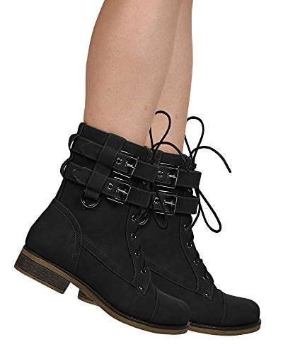 Ermonn Womens Military Combat Boots Lace up Double Buckle Strap Martin Ankle Booties (Double Buckle Ankle Strap)