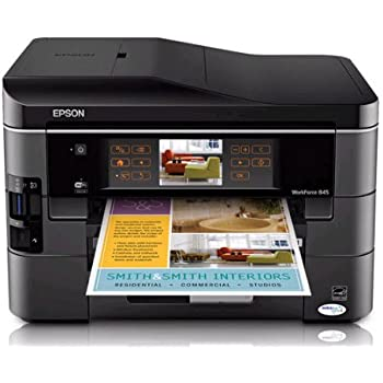 Epson WorkForce 845 Wireless All-in-One Color Inkjet Printer, Copier, Scanner, Fax, iOS/Tablet/Smartphone/AirPrint Compatible (C11CB92201)