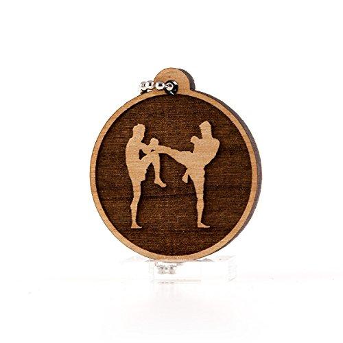 Sunset Design Lab Muay Thai Kickboxing MMA UFC Wood Laser Cut Keychain Charm Ornament