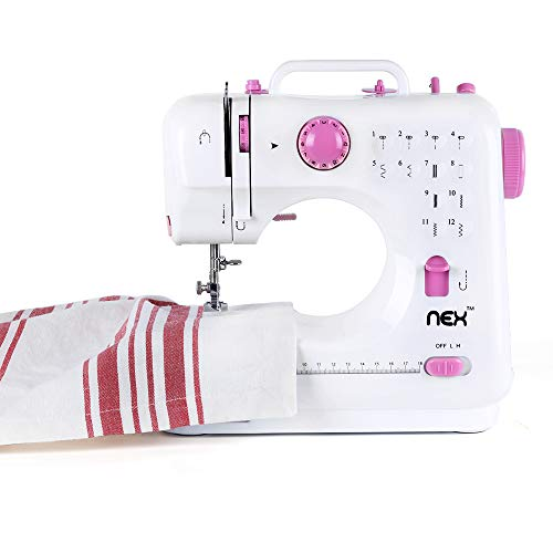 RZChome 12 Stitch Sewing Machine, Portable Household Easy to Use for Beginners Pink Sew 2 Speed with Upgrade (Easy Sew Portable Sewing Machine)