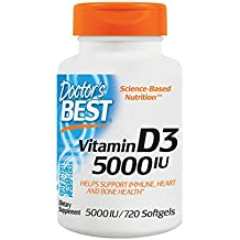 Doctor's Best Vitamin D3 5000IU, Non-GMO, Gluten Free, Soy Free, Regulates Immune Function, Supports Healthy Bones, 720 Softgels