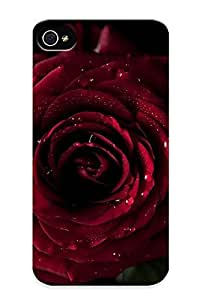 2438d5c2728 Premium Water Drop On Red Flower Back Cover Snap On Case For Iphone 4/4s