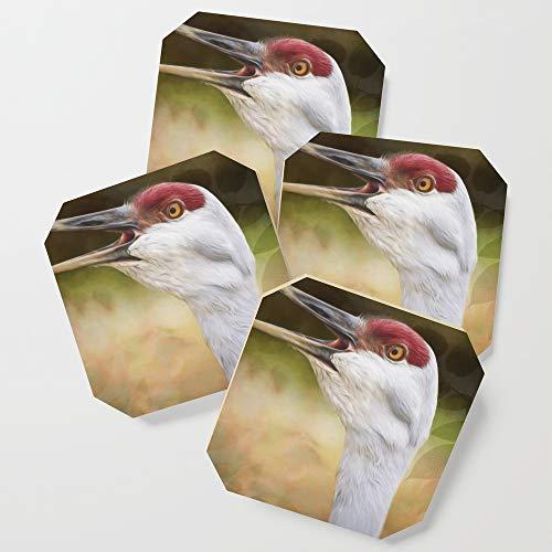 Society6 Drink Coasters, Bird Art - Look Who's Talking by jordanblackstone, set of 4