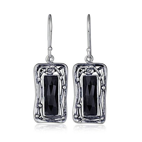 Ornate Rectangle 925 Sterling Silver & Faceted Black Onyx Gemstone Dangle Earrings with French Wire Hooks -