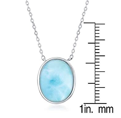 Beaux Bijoux Sterling Silver High Polish Natural Oval Larimar 16 2 Necklace