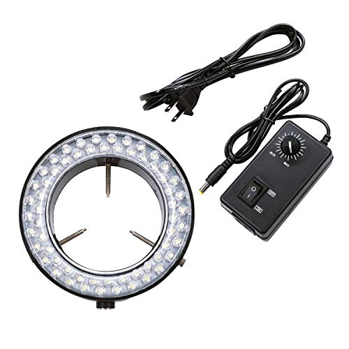 Micrl Microscope Ring Light Adjustable 60 LED Illuminator for Stereo Microscope & Camera