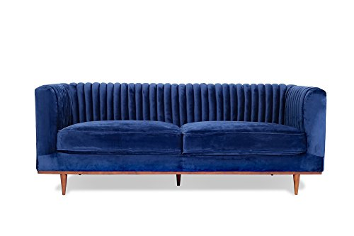 FOXLEY Blue Velvet Sofa - Midcentury Modern Sofa for Living Room - Channel Tufted