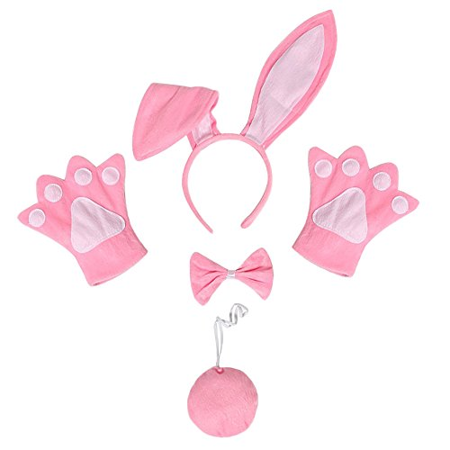 Bunny Ears Set (Festivous Wishel Rabbit Bunny Ears Headband Tail Bow Tie Paws Set Christmas Holloween Cosplay Costume Accessory (Pink))