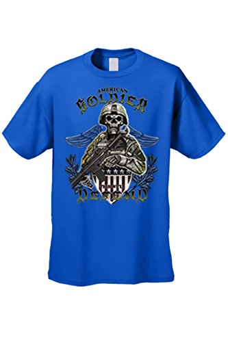 SHORE TRENDZ Men's T Shirt American Soldier Short Sleeve Tee: Royal (Large)