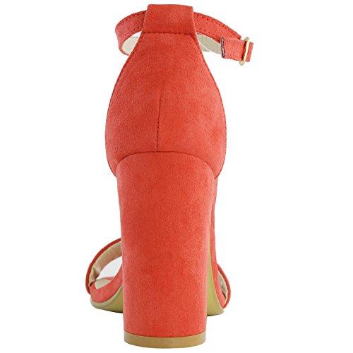 Dailyshoes Femmes Chunky Talon Sandale À Bout Ouvert Pompes De Mariage Avec Boucle Cheville Sangle Partie Chaussures De Soirée Daim Rouge