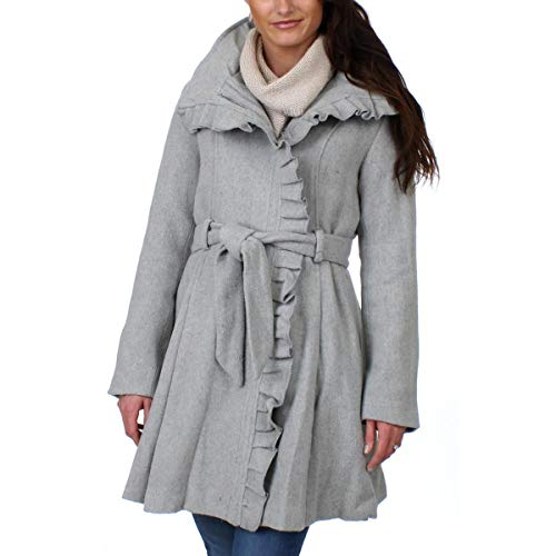 Steve Madden Women's Wool Fashion Coat, Ruffles Heather Grey, S