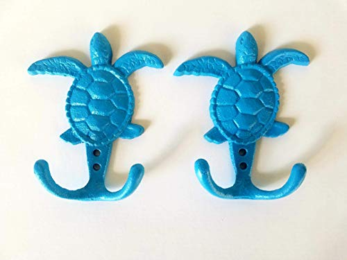 OCEAN BLUE SEA TURTLE HOOKS - SET OF 2 - Bathroom, Kitchen, Nursery Decor - hanger for keys, jewelry, towel - unique