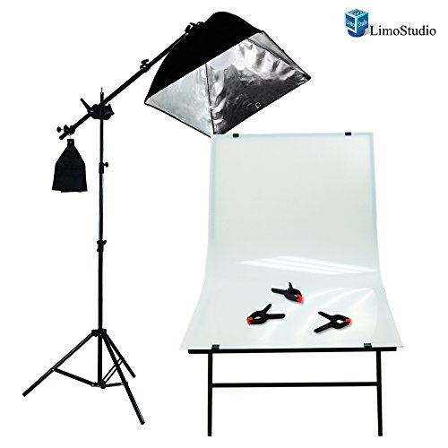 LimoStudio Photography Photo Studio Foldable Photo Shooting Table, Background Clamps with Boom Stand Softbox Continuous Lighting Kit , AGG1477V2 by LimoStudio (Image #1)