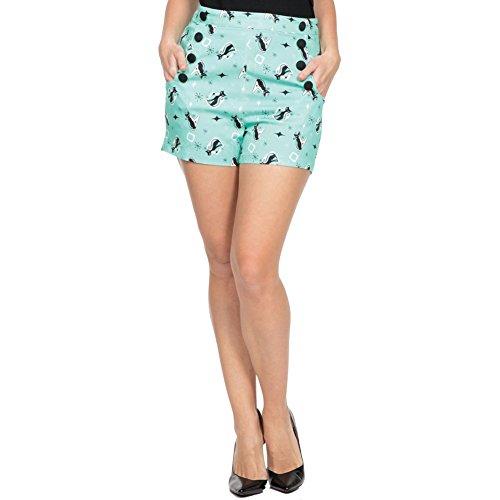 Womens-Voodoo-Vixen-FLOSSY-Retro-Kitty-High-Waist-Shorts-Green