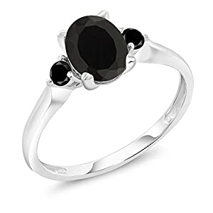 1.38 Ct Oval Black Onyx Black Diamond 10K White Gold Ring