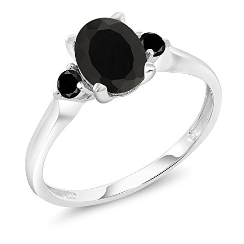 Aaa Diamond 3 Stone Ring - 10K White Gold 1.38 Ct Black Onyx and Black Diamond 3-Stone Women's Ring (Size 5)