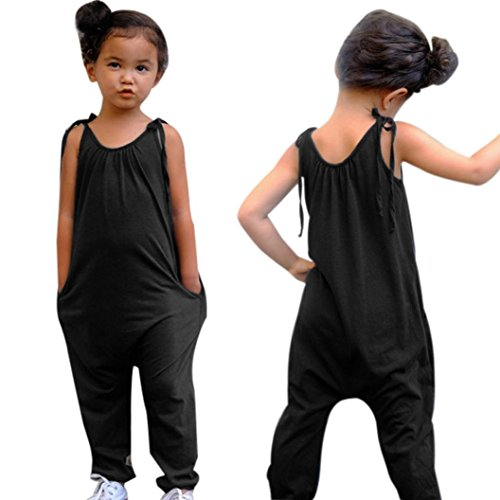 Wesracia Summer Baby Girls Solid Color Strap Romper Jumpsuit Harem Pants Trousers Clothes (Dark Gray, 130)