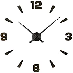 3D DIY Wall Clock, Timelike 1M Modern Frameless Large 3D DIY Wall Clock Kit Decoration Home for Living Room Bedroom (Black)