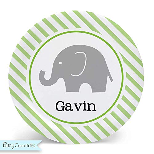 (Green Stripe Elephant Melamine Bowl or Plate Custom Personalized with Childs Name)