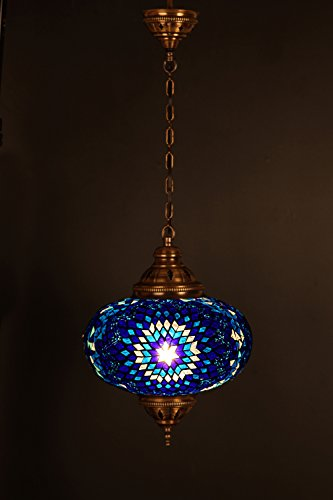 Handmade, Authentic, Mosaic Chandelier, Tiffany Style Glass, Moroccan/Ottoman Style Night Lights (Gold and Blue, Single Globe)