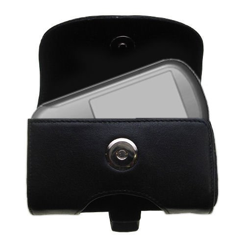Gomadic Brand Horizontal Black Leather Carrying Case for the Garmin Forerunner 301 with Integrated Belt Loop and Optional Belt Clip