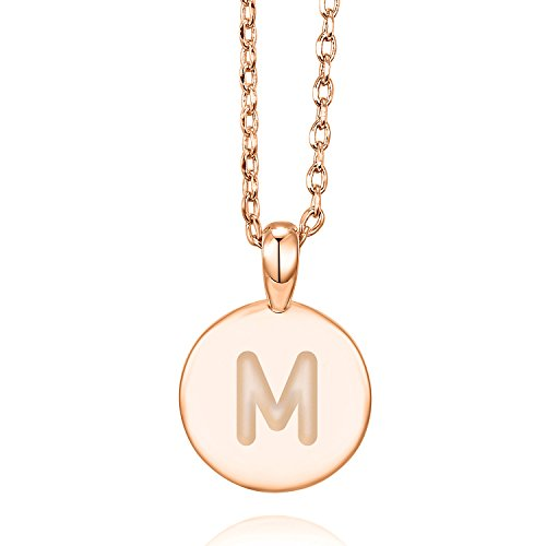 PAVOI 14K Rose Gold Plated Letter Necklace for Women | Gold Initial Necklace for Girls | Letter M
