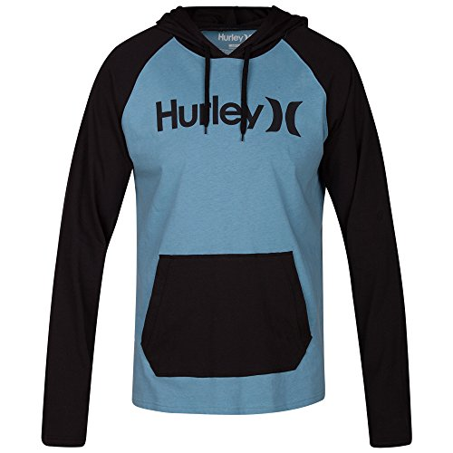 Mens Hurley Sweatshirt (Hurley  Men's One & Only Raglan Jersey Hoodie Cerulean Large)