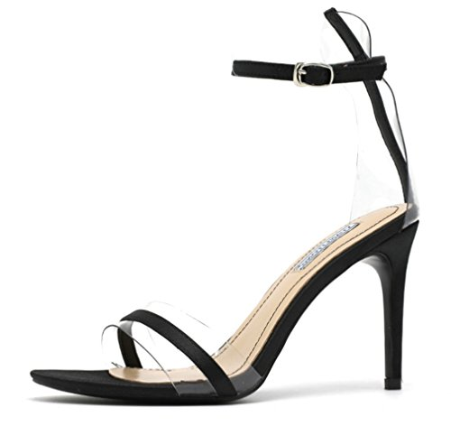 Novia La Mujer Sandalias a Verano Negro Tacones Clásica De Corte Para eu39 black Zapatos Tacón Aguja Clover Alto Mujer Lucky Rojo T6P5UnxwE