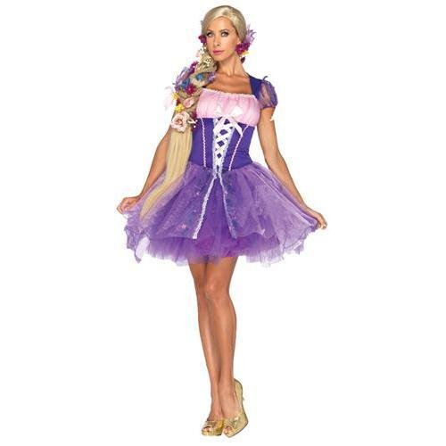 Leg Avenue Disney Rapunzel Costume Peasant Dress with Glitter Skirt with Tulle Overlay, Purple, Large]()